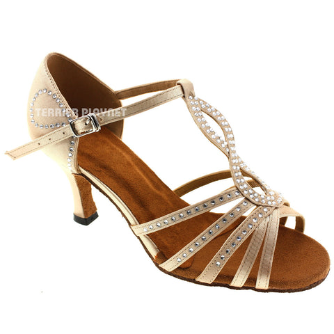 Cream Women Rhinestone Dance Shoes Q60