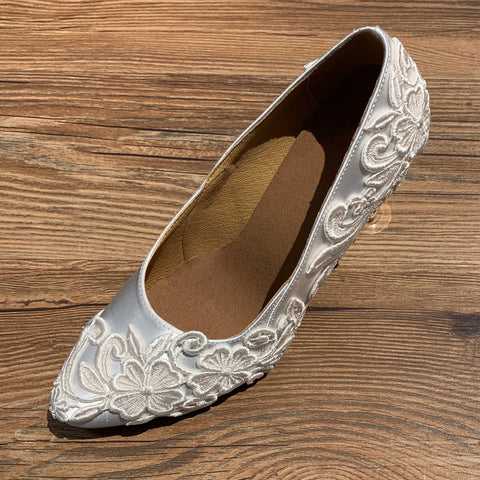 White Lace Women Wedding Shoes W028 UK5.5/US8/EU39 3.35 Inches/8.5cm Heel