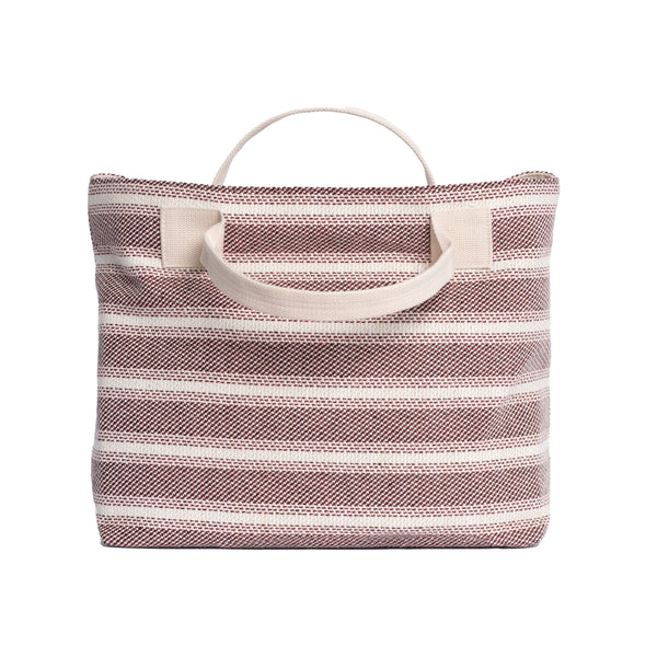 Red Striped Textile Tote