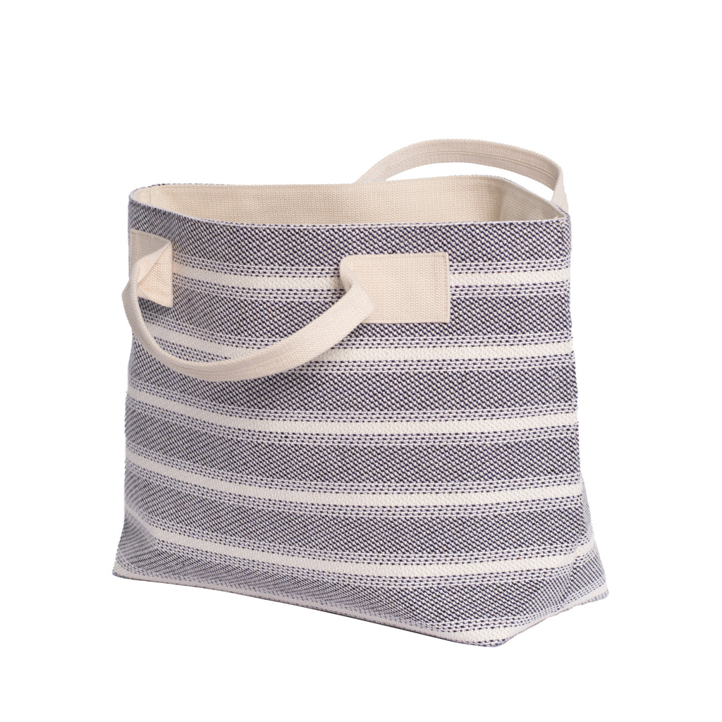 Blue Striped Textile Tote - Side