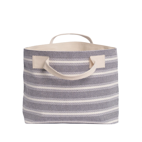 Blue Striped Textile Tote - Front