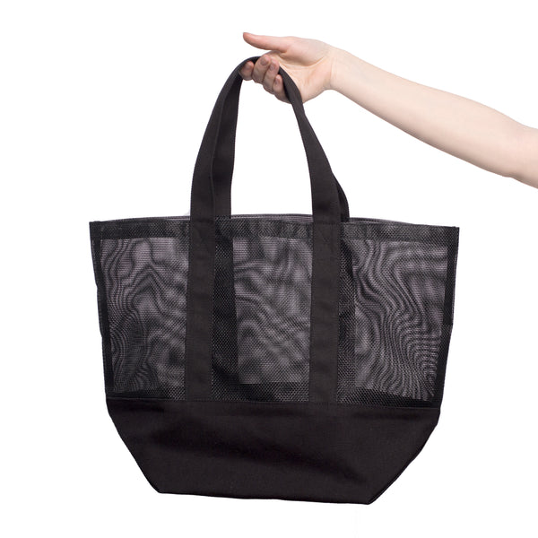 Black Mesh Canvas Utility Tote