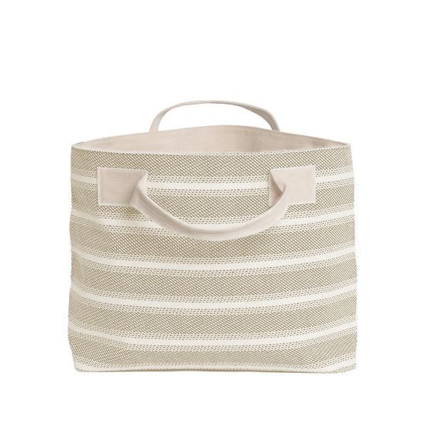 Beige Striped Textile Tote