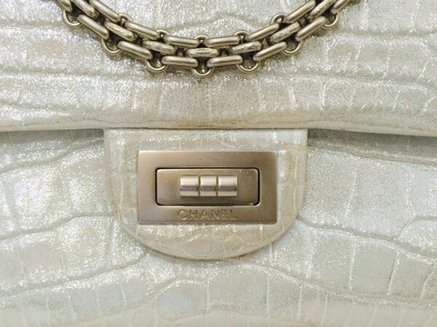 Chanel Reissue 2.55 Bag Silver Metallic Alligator