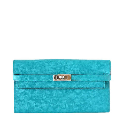 Hermes Kelly Long Wallet/Clutch Paon PHW