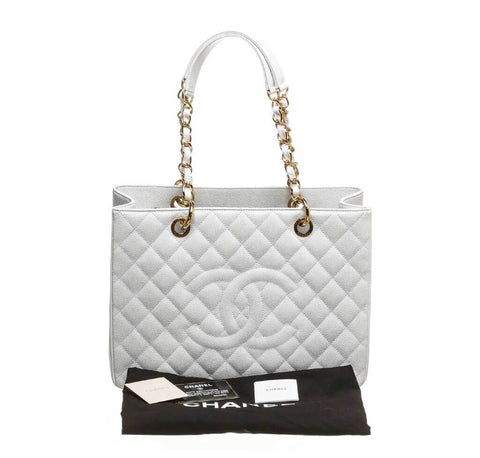 Chanel White Caviar Shopping Tote