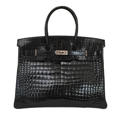 Hermès Birkin 35 Black Shiny Crocodile Bag