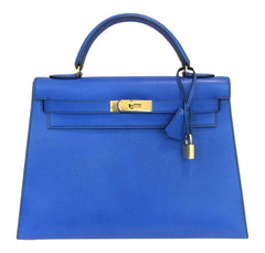 Hermès Kelly 32 Blue France Courchevel Leather Bag