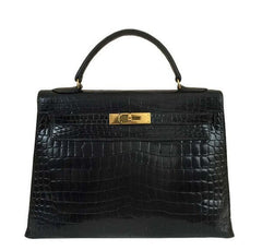 Hermès Kelly 32 Black Shiny Porosus Crocodile