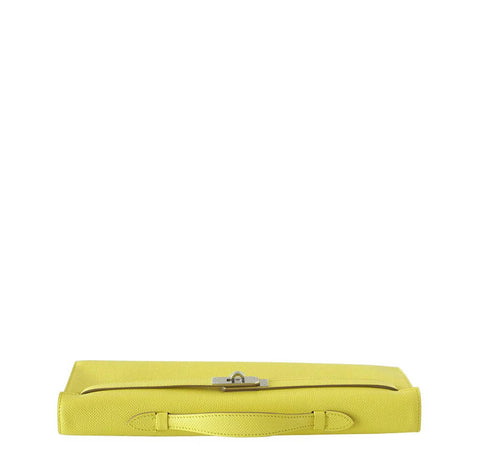 Hermes Kelly Cut Clutch Lime PHW
