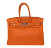 Hermes Birkin 35 Orange Togo Palladium excellent front