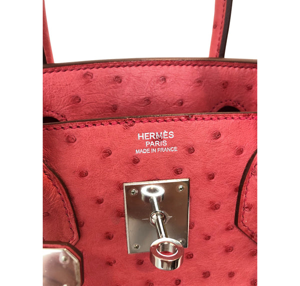 Hermes Birkin 30 Ostrich Bougainvillea Palladium very good embossing