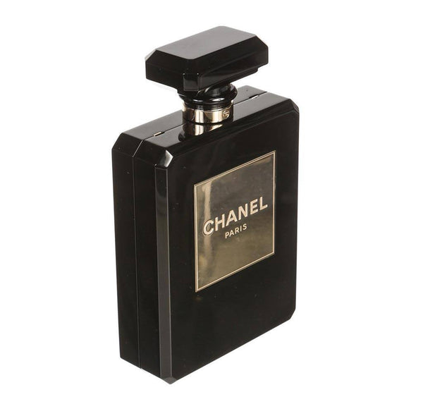 Chanel plexiglass perfume bottle bag black used side