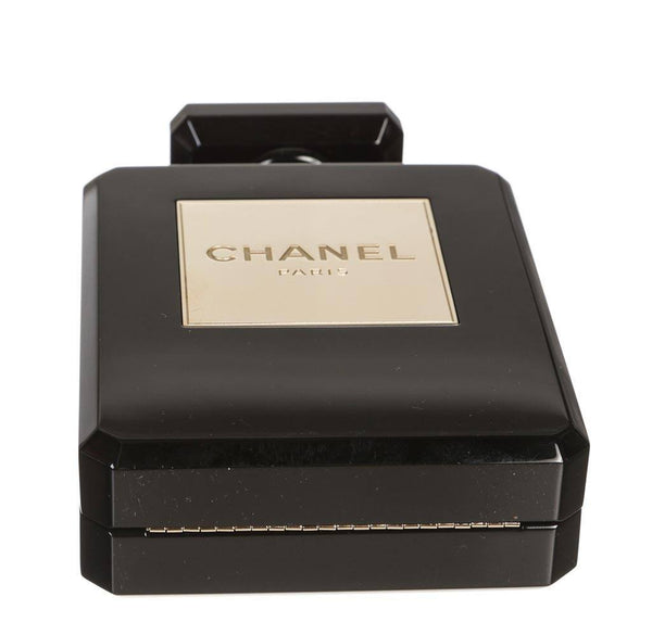 Chanel plexiglass perfume bottle bag black used bottom