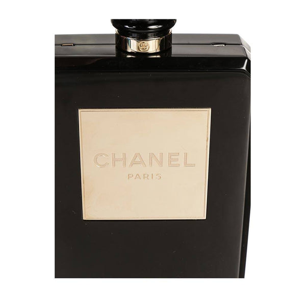 Chanel plexiglass perfume bottle bag black used detail