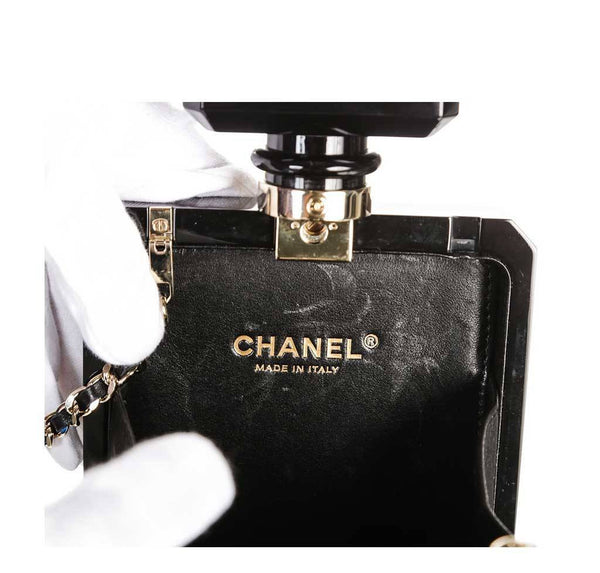 Chanel plexiglass perfume bottle bag black used engraving