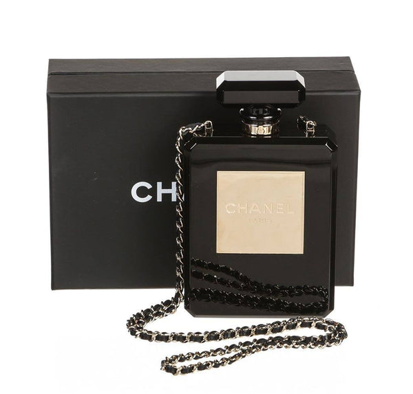 Chanel plexiglass perfume bottle bag black used front