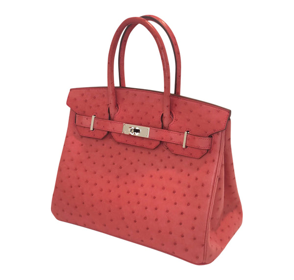 Hermes Birkin 30 Ostrich Bougainvillea Palladium very good side left