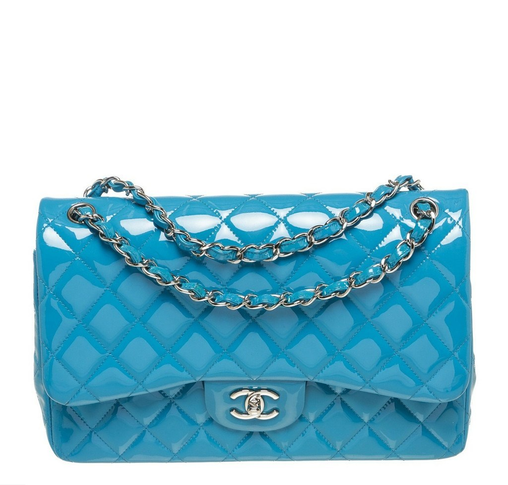Chanel Jumbo Flap Shoulder Bag Blue - Patent Leather  5cb1d9463