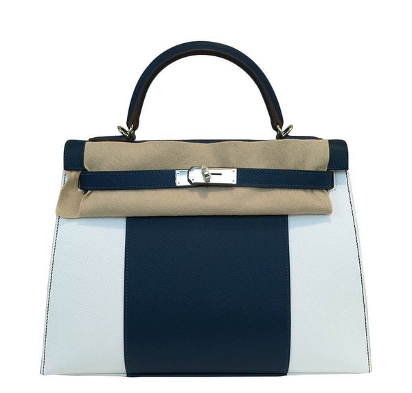 hermes kelly 32 flag sellier white blue thalassa new front