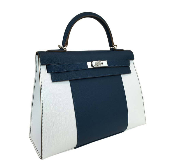 hermes kelly 32 flag sellier white blue thalassa new side