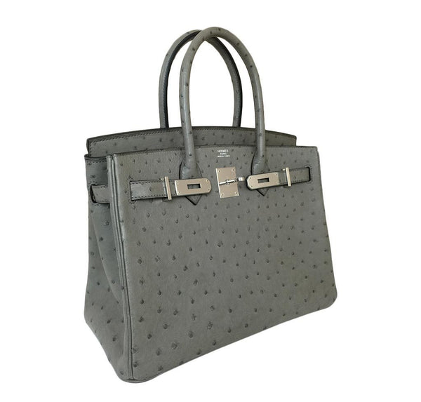 hermes birkin 30 gris tourterelle used side