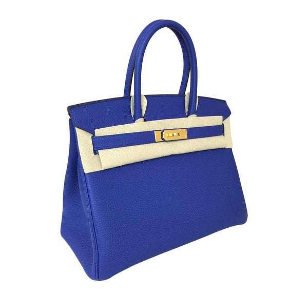 hermes birkin 30 blue electrique new front side