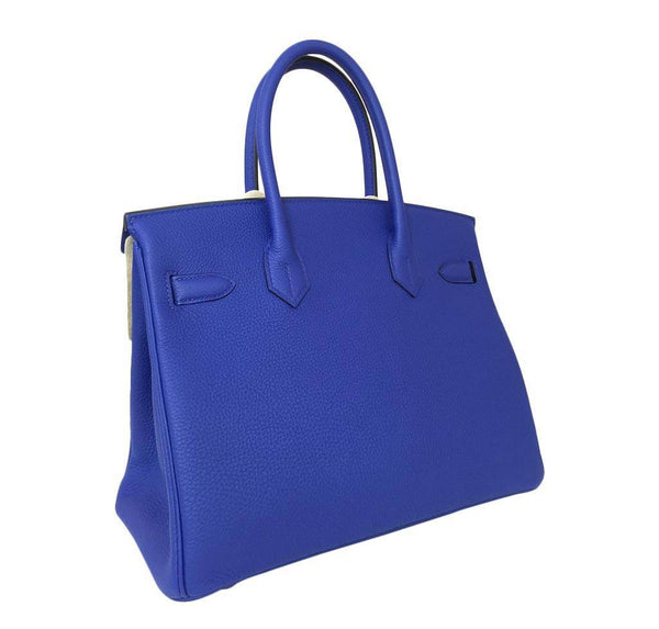 hermes birkin 30 blue electrique new side back