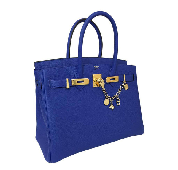 hermes birkin 30 blue electrique new side