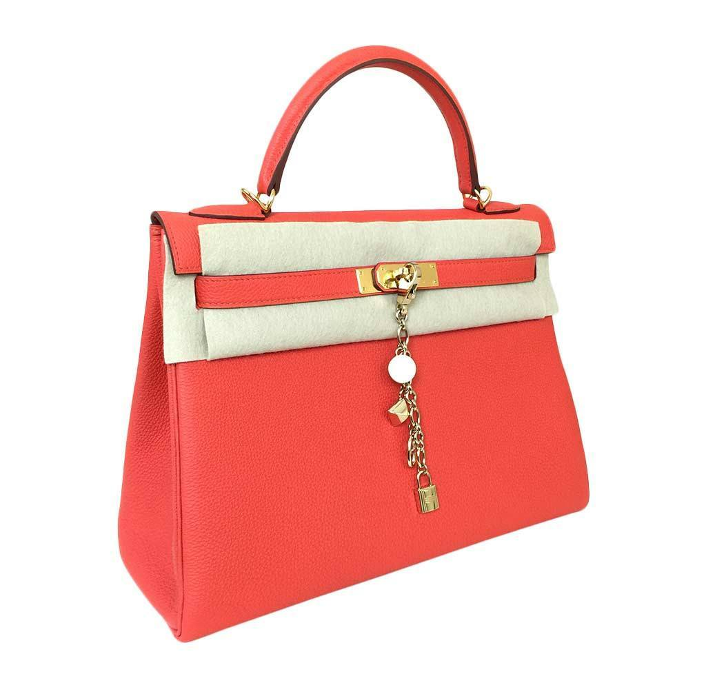 35e225f59e75 Hermes Kelly 32 Capucine Togo Bag hermes kelly 32 cappucine new front hermes  kelly 32 cappucine new front side ...