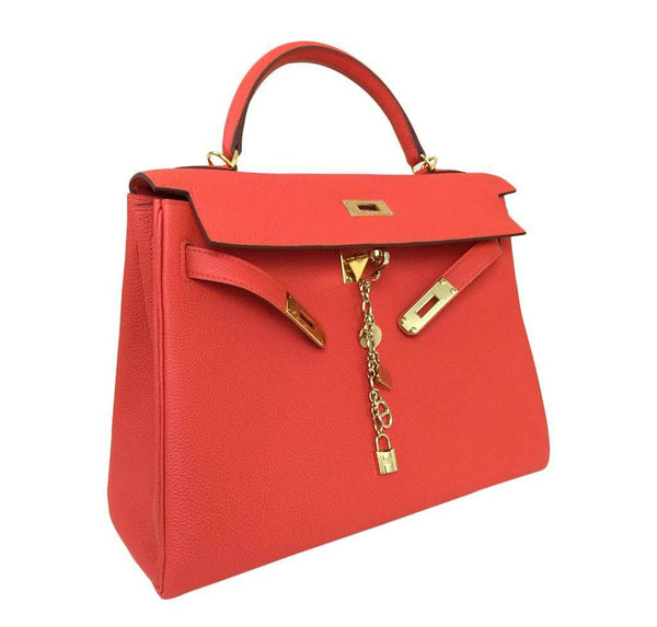 hermes kelly 32 cappucine new side open