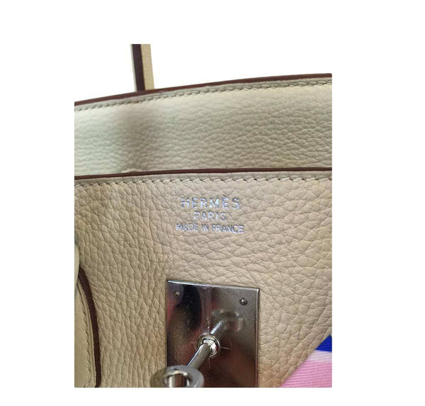 hermes birkin 35 cream used embossing