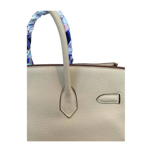 hermes birkin 35 cream used detail