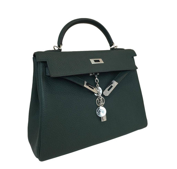 hermes kelly 32 green new front open