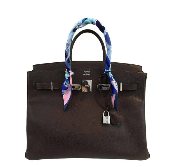 hermes birkin 35 brown used front open
