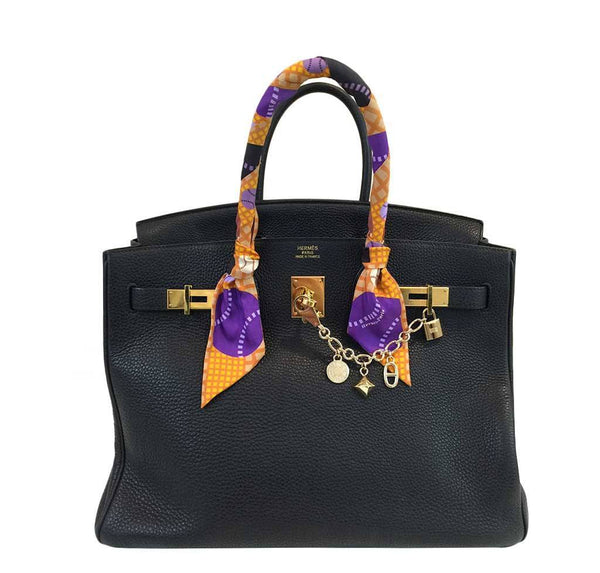 hermes birkin 35 black used front open