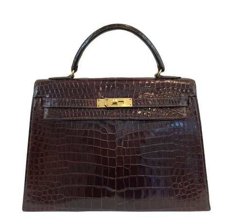 Hermes Kelly 32 Crocodile Vintage Bag
