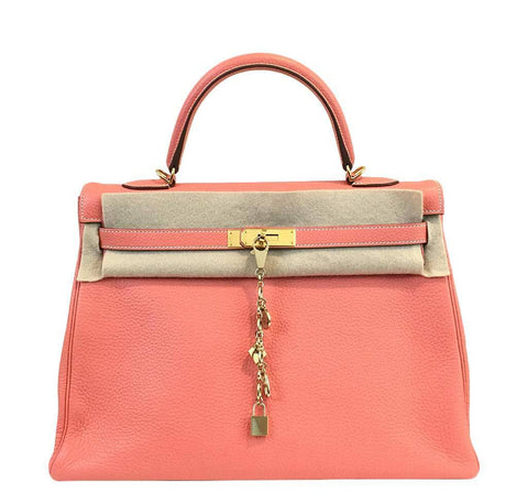 Hermes Kelly Crevette Clemence Leather Bag