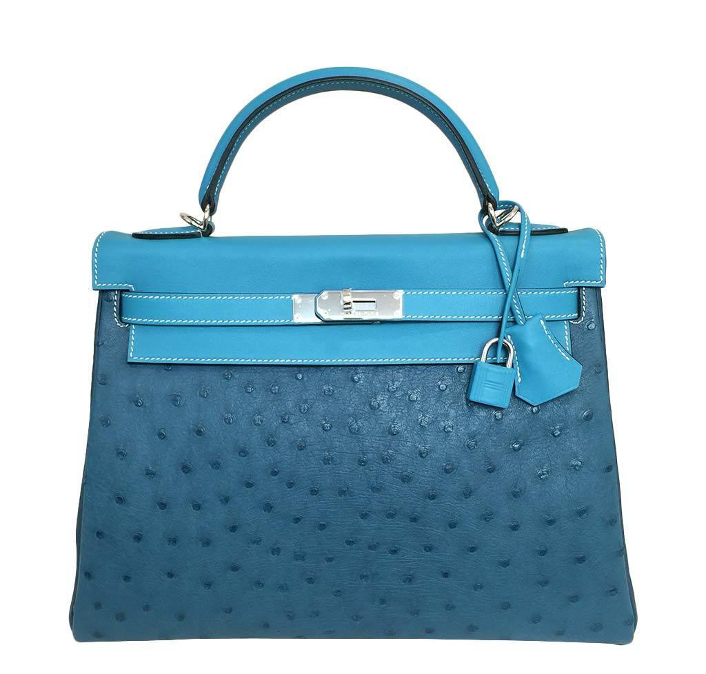 4923f53c361b Hermes Kelly 32 Blue Green Bag