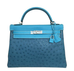 Hermes Kelly 32 Blue Green Bag