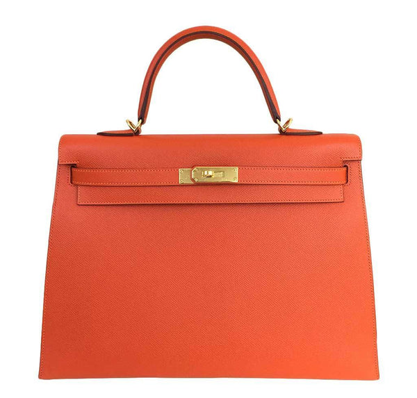 Hermes Kelly 35 Sellier Feu Bag