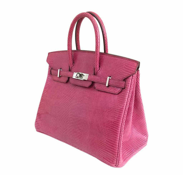 hermes birkin 25 fuchsia lizard used side