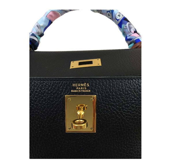 hermes kelly 32 black used embossing