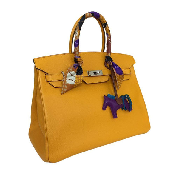 hermes birkin 35 jaune d'or used side