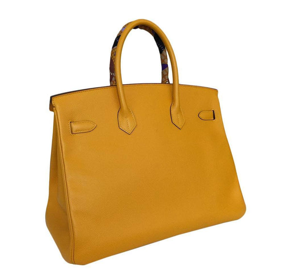 hermes birkin 35 jaune d'or used back