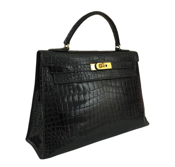 hermes kelly 32 black shiny porosus crocodile used side