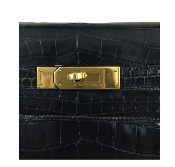 hermes kelly 32 black shiny porosus crocodile used engraving