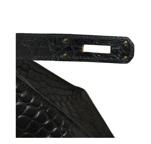 hermes kelly 32 black shiny porosus crocodile used stamp