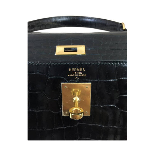 hermes kelly 32 black shiny porosus crocodile used embossing