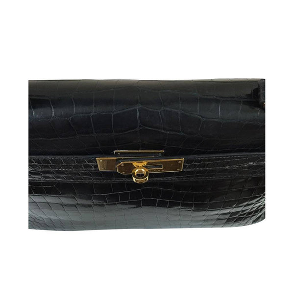 hermes kelly 32 black shiny porosus crocodile used detail